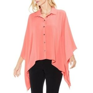 Vince Camuto Womens Button Down Poncho Top Shirt M